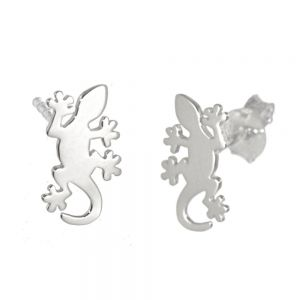 NEW Sterling Silver Jewellery: Small Flat Gecko Stud Earrings