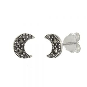 NEW Sterling Silver Jewellery: Small Marcasite Crescent Moon Stud Earrings