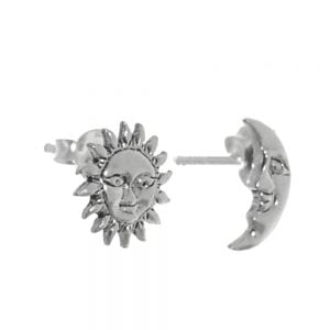 Quirky Sterling Silver Jewellery: Asymmetric Sun and Moon Stud Earrings