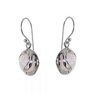 Fabulous Sterling Silver Jewellery: Round Iridescent Moonstone Drop Earrings with Swirling Frames