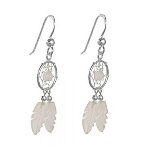NEW Beautiful Sterling Silver Jewellery: Moonstone Detailed Dreamcatcher Earrings (38mm Long incl Hook)