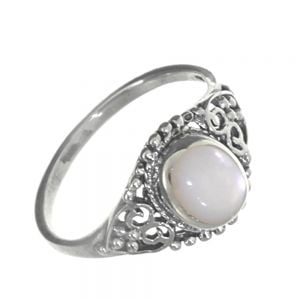 Sterling Silver Jewellery: Vintage Inspired Ring with Large Mother of Pearl Stone and Ornate Detailing