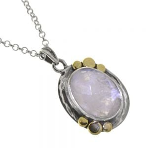Unusual Sterling Silver Jewellery: Silver Hammered Oval Pendant with Faceted Moonstone and Brass Dots