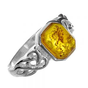 Sterling Silver: Oblong cut Baltic Amber Celtic Ring