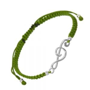 Sterling Silver Jewellery: Adjustable Olive Green Cord Drawstring Bracelet with Treble Clef Music Note Design