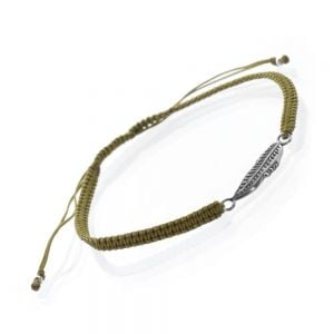 Sterling Silver Jewellery: Olive Green Cord and Leaf Bracelet  (B31a)