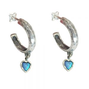 Sterling Silver Jewellery: Hand Made Blue Opal Heart Half Hoop Earrings in a hammered finish (Full Drop 16mm) (E781)