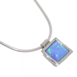 Aviv sterling silver square Opal Necklace