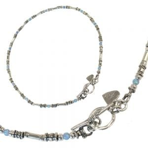 Hand Made Opulant Silver and opal bead necklace with a lovely T-Bar detail