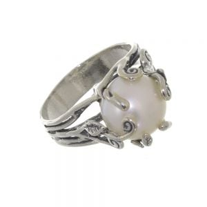 Aviv sterling silver and pearl ring