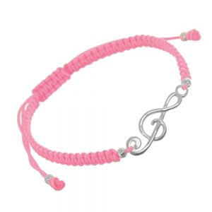 Sterling Silver Jewellery: Adjustable Pink Cord Drawstring Bracelet with Treble Clef Music Note Design