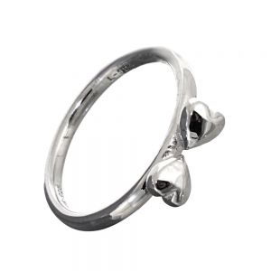 SALE Sterling Silver Jewellery: Stacking Ring with Two Sideways Hearts