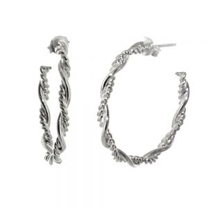 NEW Sterling Silver Jewellery: Round Twisted Rope Style Hoop Earrings with Stud Fastening