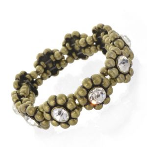 SALE: antique gold Coloured Stretch flowerr Bracelet with Clear Crystals (S488)