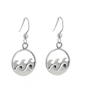 NEW Sterling Silver Jewellery: Circle Drops with Ocean Waves Design