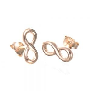 Rose Gold Plated: Sterling Silver Figure Eight Stud Earrings