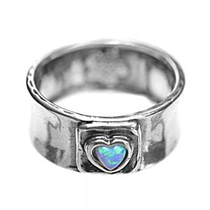 Aviv Sterling Silver Jewellery: Chunky Ring with Opal Heart In Square Design