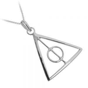 Sterling Silver Jewellery Geometric Triangle Pendant Design in Harry Potter Inspired Deathly Hallows Style