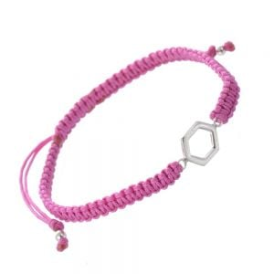 Geometric Sterling Silver Jewellery: Pink Cord and Hexagon Charm Bracelet