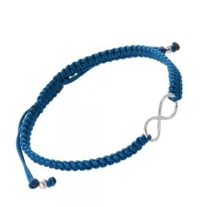 Sterling Silver Jewellery: Silver Infinity Design Teal Cord Bracelet (B7a)