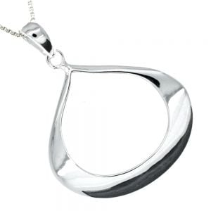 Wide Sterling Silver Teardrop Pendant