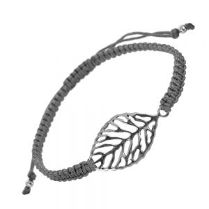 Sterling Silver Jewellery: Grey Cord and Leaf Adjustable Bracelet  (B147)