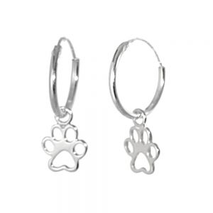 NEW Sterling Silver Jewellery: 12mm Sleeper Hoops with Paw Print Charms