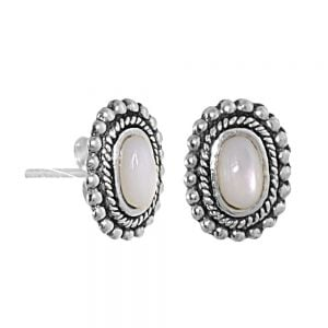 NEW Sterling Silver Jewellery: Small Oval Mother of Pearl Studs with Oxidised Outlines
