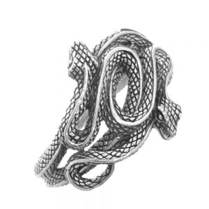 Gothic Statement Intricately Decorated Double Snake Ring