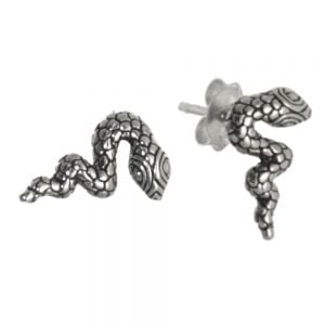 Quirky Sterling Silver Jewellery: Snake Stud Earrings with Oxidised Detailing