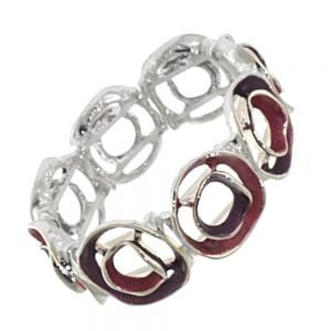 Contemporary Fashion Jewellery: Chunky Matt Pink and Purple Bracelet with Rounded Concave Shapes