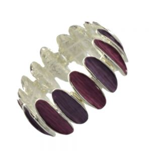 Contemporary Fashion Jewellery: Chunky Matt Pink and Purple Bracelet with Concave Oval Shapes