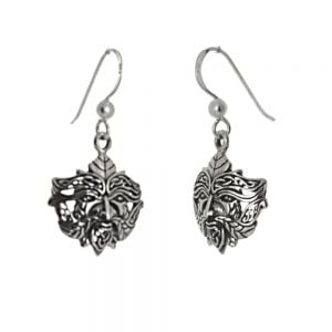 Sterling Silver Jewellery: Oxidised Green Man Earrings with Celtic Knotwork Detail