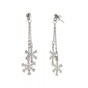 Beautiful Sterling Silver Jewellery: Dangly Chain Earrings with Snowflake Drops