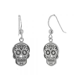 Unusual Sterling Silver Jewellery: 'Day of the Dead' Sugar Skulls with Moustaches Earrings