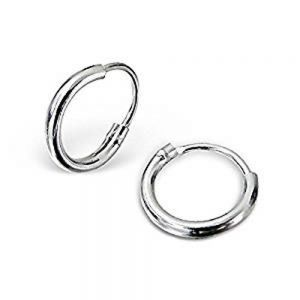 Sterling Silver Jewellery: Very Tiny Basic Sleeper Hoop Earrings (E22) …
