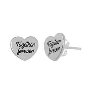 NEW Sterling Silver Jewellery: Heart Earrings with 'Together Forever' Quote