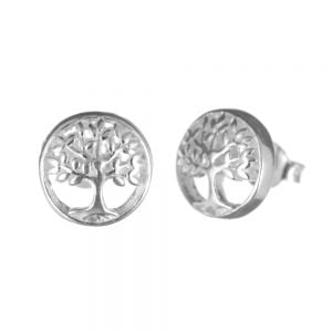 Sterling Silver Jewellery: Small Circle-Framed Tree of Life Stud Earrings