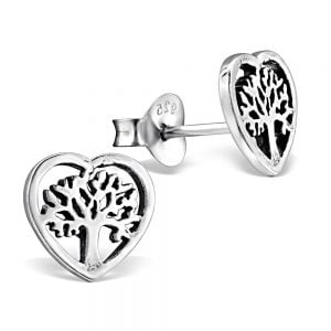 Sterling Silver Jewellery: Tiny Heart Studs With 'Tree Of Life' Inner Design