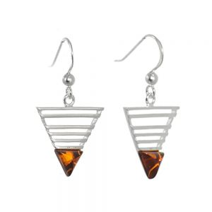 Sterling Silver Jewellery: Contemporary Triangle Earrings with Baltic Amber Detail