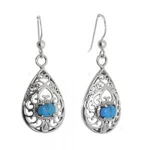 Beautiful Sterling Silver Jewellery: Swirly Filigree Teardrops with Blue Turquoise Stones