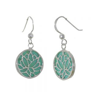 Pretty Sterling Silver Jewellery: Turquoise Drops with Lotus Overlapping Design