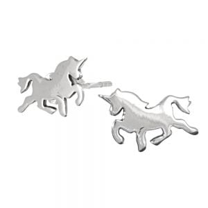 New Lovely Sterling Silver Jewellery: Simple Flat prancing Unicorn Stud Earrings (12mm x 6mm) (E47)