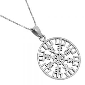 Unusual Sterling Silver Jewellery: Vegvísir Runic Protection Amulet Design 26mm Pendant (Ægishjálmur)