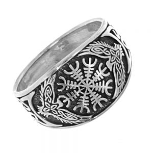 Viking Celtic Vegvísir Runic Protection Amulet Design Ring (Ægishjálmur)