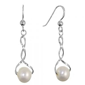 NEW Sterling Silver Jewellery: Delicate Twisted Earrings with white Freshwater Pearls (Full Length incl Hook 35mm)