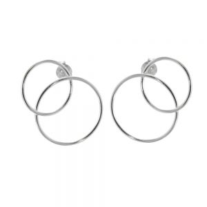 Contemporary Sterling Silver Jewellery: Statement Double Circle Stud Earrings