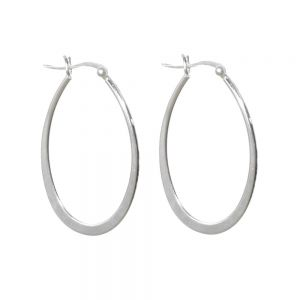 Statement Sterling Silver Jewellery: Elongated Oval Hoop Earrings with Clip Fastening