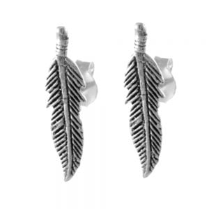 Sterling Silver Jewellery: Oxidised Feather Stud Earrings
