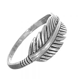 Oxidised Sterling Silver Feather Ring